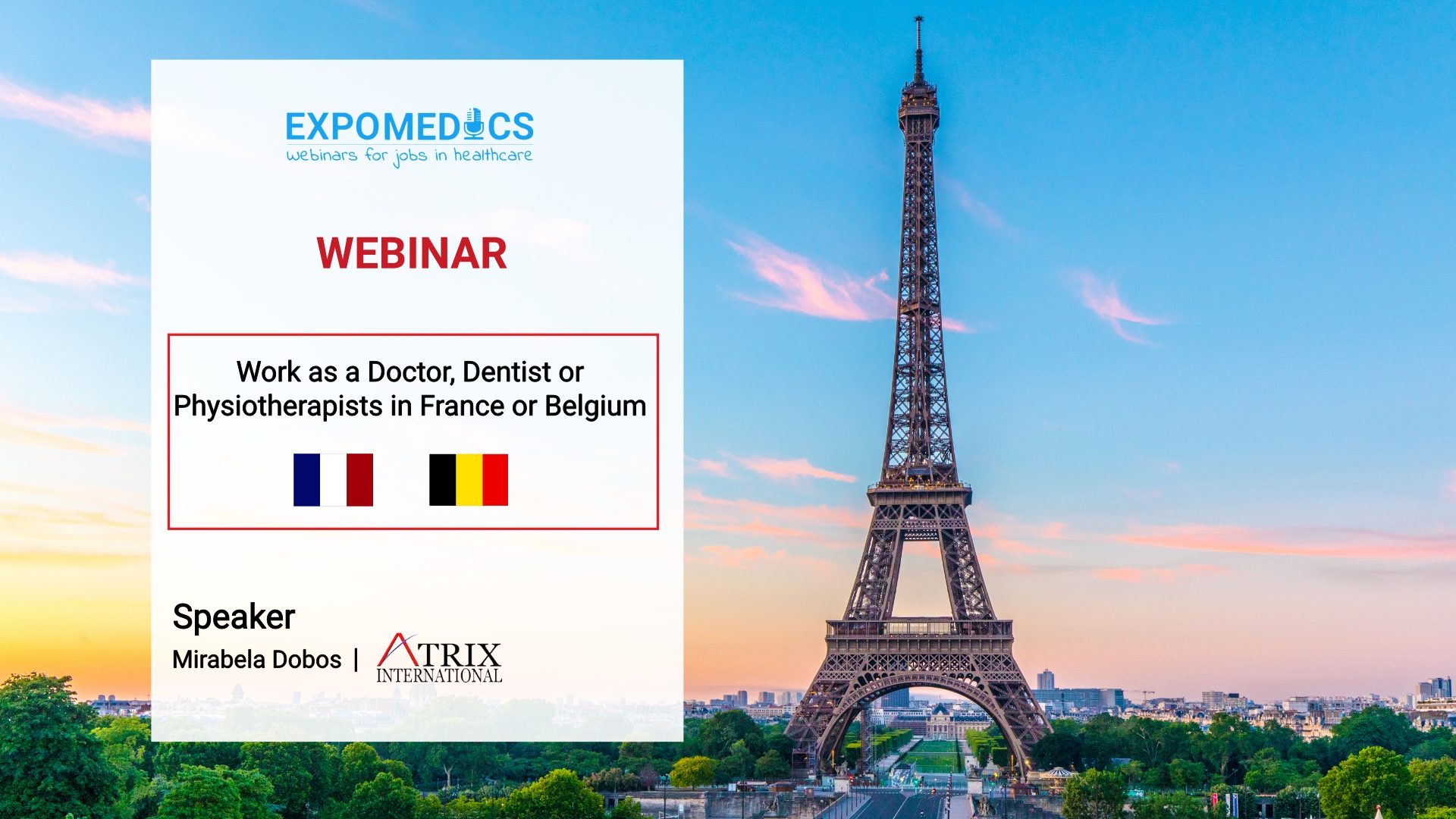 Carrer opportunities for Doctors, Dentists & Physiotherapists in France and Belgium